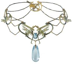 Gold, Enamel and Gem-set Necklace by René Lalique, consisting of four separate panels formed from intertwined damselflies arranged into sinuous and symmetrical designs, the veined wings decorated with plique-á-jour enamel and highlighted with diamonds, the bodies in luminous opalescent enamel over a silver foil ground, the central panel supporting an aquamarine briolette suspended beneath a cushion cut aquamarine, the reverse of the necklace in etched gold. Paris, circa 1902-1904.