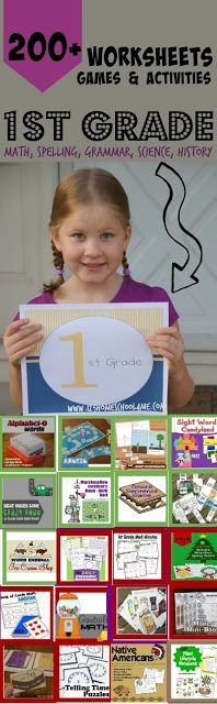 WOW! Over 200+ free printable FIRST GRADE worksheets, first grade games, and more! Perfect for extra practice, summer learning, and homeschooling. (first grade math, grammar games, science projects, and history for kids)