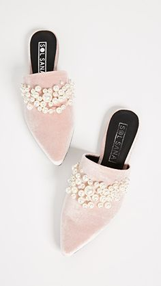 Sol Sana Grace Imitation Pearl Pink Velvet Slides | Winter Style | Winter Outfit Ideas | Winter Shoes | Winter Accessories | Pink Shoes | Pink Slides