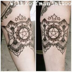 Will Koffman Tattoo Pentacle Pentagram Triple Moon Godess Lace Dots