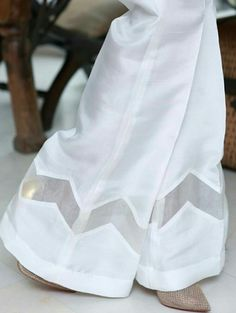 nice trouse daign for girl Kurti Sleeves Design, Sleeves Designs For Dresses, Kurta Neck Design, Dress Neck Designs, Pakistani Fashion Casual, Pakistani Dresses Casual, Pakistani Dress Design, Salwar Pants, Stylish Dress Designs