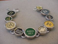 TYPEWRITER KEY JEWELRY BRACELET COLORFUL FUNCTION KEYS | magic_closet - Jewelry on ArtFire