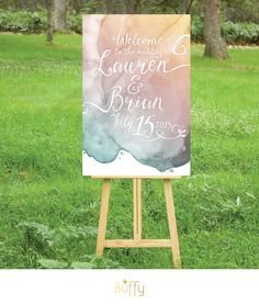 The LAUREN . Welcome Sign Calligraphy & Watercolor Wedding . Gold Pink Teal Blush Purple Gray . Party or Birthday Personalized Custom . PDF by BuffyWeddings on Etsy https://www.etsy.com/listing/215905012/the-lauren-welcome-sign-calligraphy