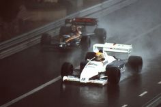 It's impossible to mention Monaco 1984 without that pic of 2 incredible drivers, heroes of that race... Ayrton Senna (Toleman TG184) and Stefan Bellof (Tyrrell 012)...
