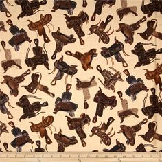 Kanvas Wild Wild West Western Saddles Tan from @fabricdotcom  Designed by Maria Kalinowski for Kanvas in association with Benartex, this cotton print fabric is perfect for quilting, apparel and home decor accents. Colors include black, cream, shades of grey, and shades of brown.