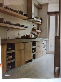 More nice shelving - could I control myself and keep it uncluttered… Kitchen Interior, Concrete Kitchen, House Design, Home, Kitchen Remodel, Home Kitchens, Rustic Kitchen, Kitchen Style, Kitchen Design