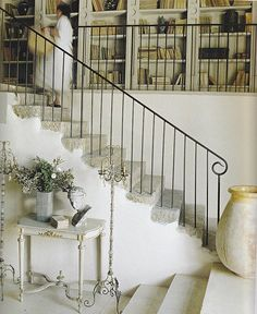 Simple forged iron stair railing - Provence