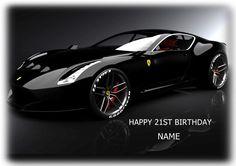 Ferrari Super Fast Sports Car A4 Edible Icing Sheet Birthday Cake Topper