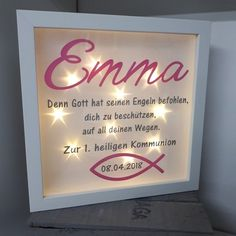 Kommunion Beautifully illuminated picture frame with the desired name for communion or confirmation. Blue Green Color Names, Green Colors, Pink Color, Paint Dipping, Light Chain, Color Tag, Vintage Nursery, Playroom Decor, Purple Lilac