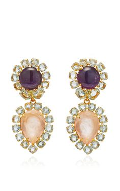 Brass 14 K Gold Plated Amethyst, Rose Quartz And Green Amethyst Earrings by BOUNKIT for Preorder on Moda Operandi