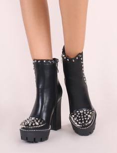 70e5028157b1 These platform ankle boots featuring studs and spikes