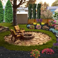 Delightful I Need To Take The Existing Fire Pit In The Back Yard And Create A Seating  Area And Accent It With Shrubs And Trees.