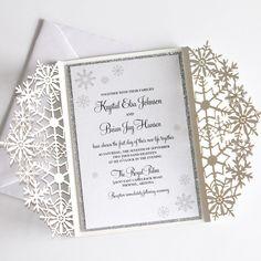 Winter Wedding Invitation Snowflake Invitation Elegant   Etsy Snowflake Invitations, Glitter Invitations, Laser Cut Wedding Invitations, Invitation Envelopes, Elegant Invitations, Invitation Design, Shower Invitations, Snowflake Wedding, Reception Card
