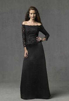 Romantic black off-shoulder neckline  satin lace a-line evening formal mother of the bride wedding dress with long sleeves