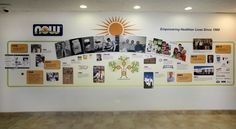 NOW Foods  Corporation Timeline Wall The background of the timeline wall was printed on durable canvas wall covering and the dimensional elements are photographs on cleated acrylic panels.  To see additional projects, please follow this link http://www.history-donor-walls.com/