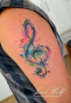 Watercolor Music Tattoo.                                                                                                                                                     More