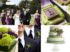 Eggplant and chartreuse wedding colors