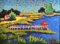 """Marsh Pier with Red Roof"" Claudia Hartley http://www.artmeccaofcharleston.com/ http://hartleyart.com/"
