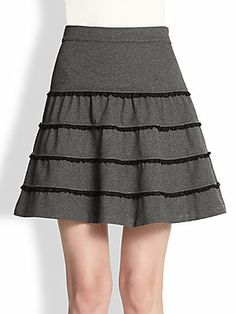 RED Valentino Tiered Lace-Trim Jersey Skirt