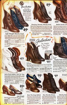Galoshes Montgomery Ward 1936-37 30s 40s shoe boot rain gear color photo print ad illustration catalogue women ladies