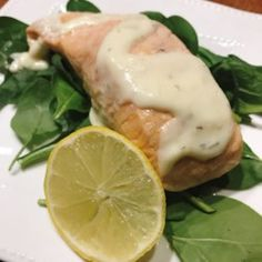 """""""The salmon can be cooked any way you prefer, because the star of this recipe is the lemon cream sauce made with Meyer lemon.""""Season salmon fillets with salt and pepper. Melt 1 tablespoon butter in a … Lemon Sauce For Salmon, Salmon With Cream Sauce, Lemon Salmon, Salmon Sauce, Fish Sauce, Lemon Recipes Dinner, Baked Salmon Recipes, Seafood Dishes, Seafood Recipes"""