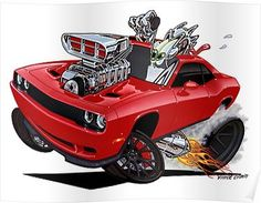"The very popular Camrao A favorite for car collectors. The Muscle Car History Back in the and the American car manufacturers diversified their automobile lines with high performance vehicles which came to be known as ""Muscle Cars. 2017 Dodge Challenger Hellcat, Cartoon Car Drawing, Cartoon Art, Cool Car Drawings, American Muscle Cars, Mopar, Art Cars, Classic Cars, Rat Fink"