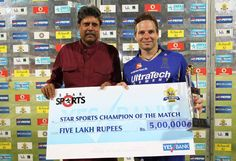 Kapil Dev Former Indian Cricket Team Captain presents the Star Plus Champion of the Match Trophy to Brad Hodge of Rajasthan Royals during the eliminator match of the 2013 Pepsi Indian Premier League between The Rajasthan Royals and the Sunrisers Hyderabad held at the Feroz Shah Kotla Stadium, Delhi on the 22nd May 2013