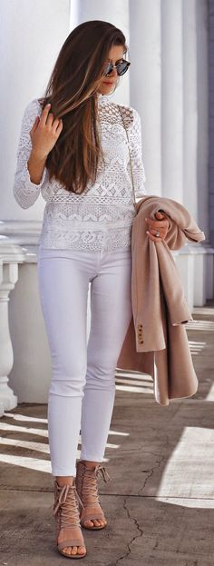 White Lace Top & White Skinny Jeans