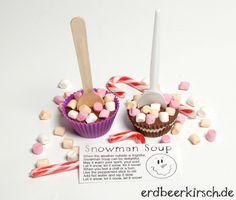 Kirschkuchen: [Rezept] Schneemannsuppe Schneemann Party, Snowman Soup, Peppermint Sticks, Let It Snow, Cupcakes, Canning, Sweet, Desserts, Muffins