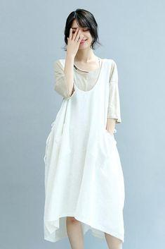 3eee6442676 Summer Beige Linen Sleeveless Women Suspender Dresses