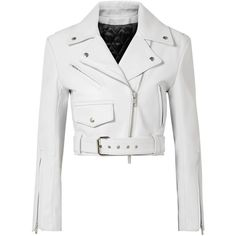 CALVIN KLEIN 205W39NYC Cropped leather biker jacket ($2,800) ❤ liked on Polyvore featuring outerwear, jackets, white, american leather jacket, leather motorcycle jacket, leather biker jackets, leather moto jacket and real leather jackets