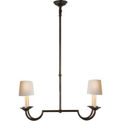 Visual Comfort E.F. Chapman Flemish Small Linear Pendant in Aged Iron with Natural Paper Shades CHC1497AI-NP