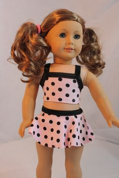 Pink Polka Dot Swimsuit  Fits American Girl,  18 Inch Dolls