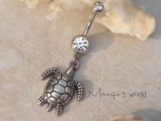Turtle Belly Button Ring- Crystal Belly Ring- Silver Turtle Charm Dangle Navel Piercing Bar Barbell- B001 Super cute sea turtle!