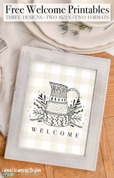 This free Welcome Printable is available in three sweet designs, two sizes, and two formats. Perfect for entryway home decor. Printable Designs, Printable Wall Art, Free Printables, Diy Crafts For Gifts, Paper Crafts, Cheap Wall Art, Do It Yourself Crafts, Holiday Themes, Free Prints
