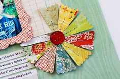 Cute pinwheel flower made from Jenni Bowlin Scalloped Banner Large Squeeze Punch Fabric Flowers, Paper Flowers, Scrapbook Paper Crafts, Diy Scrapbook, Scrapbooking Ideas, Paper Crafting, Creative Crafts, Diy Crafts, Candy Cards