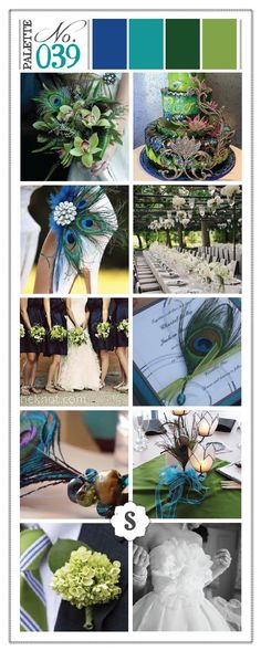 Peacock themed wedding color palette. Blue, teal and green