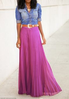 i love this look. Pink pleated maxi skirt chambray button up! Check out the website