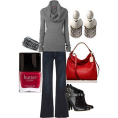 """""""Casual Red Pop"""" by jessdemery on Polyvore"""