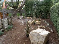 let the children play: just add stones, logs, stumps and mounds. - great ideas on this page, along with ideas of where to source materials. Backyard Play Spaces, Outdoor Learning Spaces, Outdoor Play Areas, Outdoor Fun, Outdoor Ideas, Outdoor Spaces, Outdoor Living, Outdoor Classroom, Outdoor School