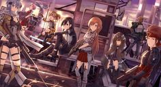 sword art online apron armor blue eyes blue hair boots city gloves group gun headband kneehighs long hair pink eyes riki to scarf stairs sword twintails weapon wallpaper background