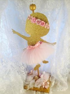 Baby Girl Ballerina Centerpiece - Party Decorations - Ballet - Pink and Gold - Customized Your Colors - Baby Shower - Mom To Be - Table Ballerina Party, Ballerina Baby Showers, Baby Shower Princess, Gold Baby Showers, Fiesta Baby Shower, Baby Shower Parties, Shower Party, Ballerina Centerpiece, Girl Shower