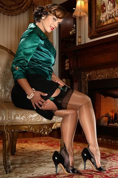 Visible Garters and Stocking Tops Under Pencil Skirt