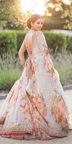 Engagement Lehenga Ideas - - Floral simple lehenga for engagement. Source by shaadisaga Indian Bridal Outfits, Indian Bridal Fashion, Indian Bridal Lehenga, Bridal Dresses, Floral Lehenga, Lehenga Choli, Lehenga Blouse, Anarkali, Lehnga Dress