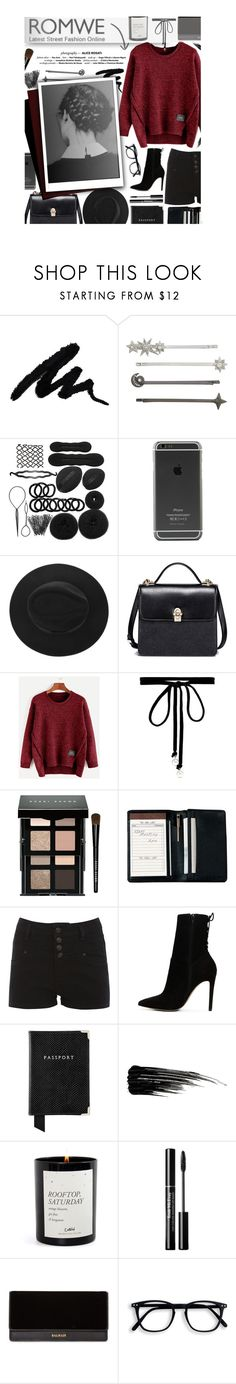 """#Romwe Burgundy Sweater"" by sierrrrrra ❤ liked on Polyvore featuring Henri Bendel, Joomi Lim, Bobbi Brown Cosmetics, Royce Leather, ALDO, Aspinal of London, Urban Decay, Balmain, romwe and burgundy"