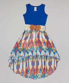 Maya Fashion Royal Hi-Low Belted Dress - Girls | zulily
