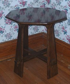 Stickley Design Inspired Table. Arts and Crafts end table inspired by Tabouret design in Stickley catalog from late 1800's