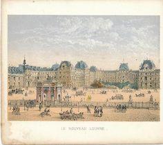 The Louvre c.1850 Paris Original Antique Color Lithograph Print | eBay