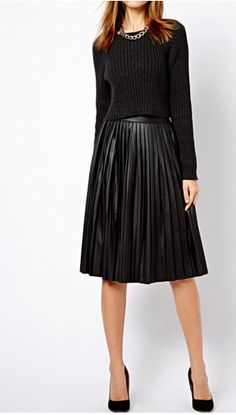 black-leather-pleated-midi-skirt | women in leather | Pinterest ...
