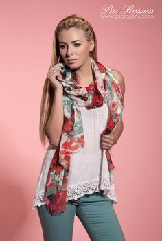 Margarita Scarf  www.piarossini.com Pia Rossini Spring #Pastel #Scarf #Scarves #Mint Green #Red #White #Floral #Floaty #Light #Woman's Apparel #Fashion #Accesssories #Trend #Style #Spring #Summer